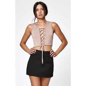 Kendall and Kylie Lace Up Sweater Tank Top